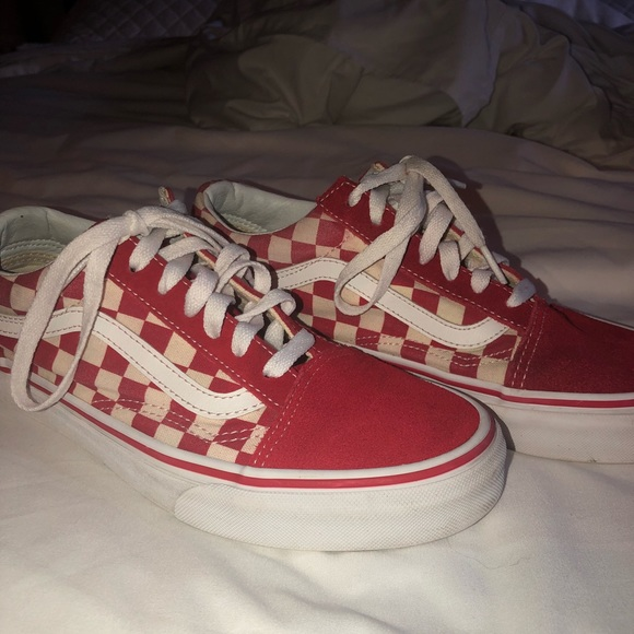 b3ab49cd02 Red checkered lace up vans. M 5bef5b0545c8b3e05533ed64